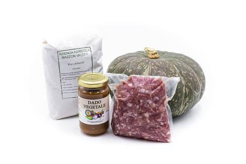 """Kit """"Risotto con zucca e salamella (o pancetta)"""""""